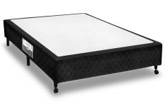 Cama Box Base Castor Poli Tecido Black